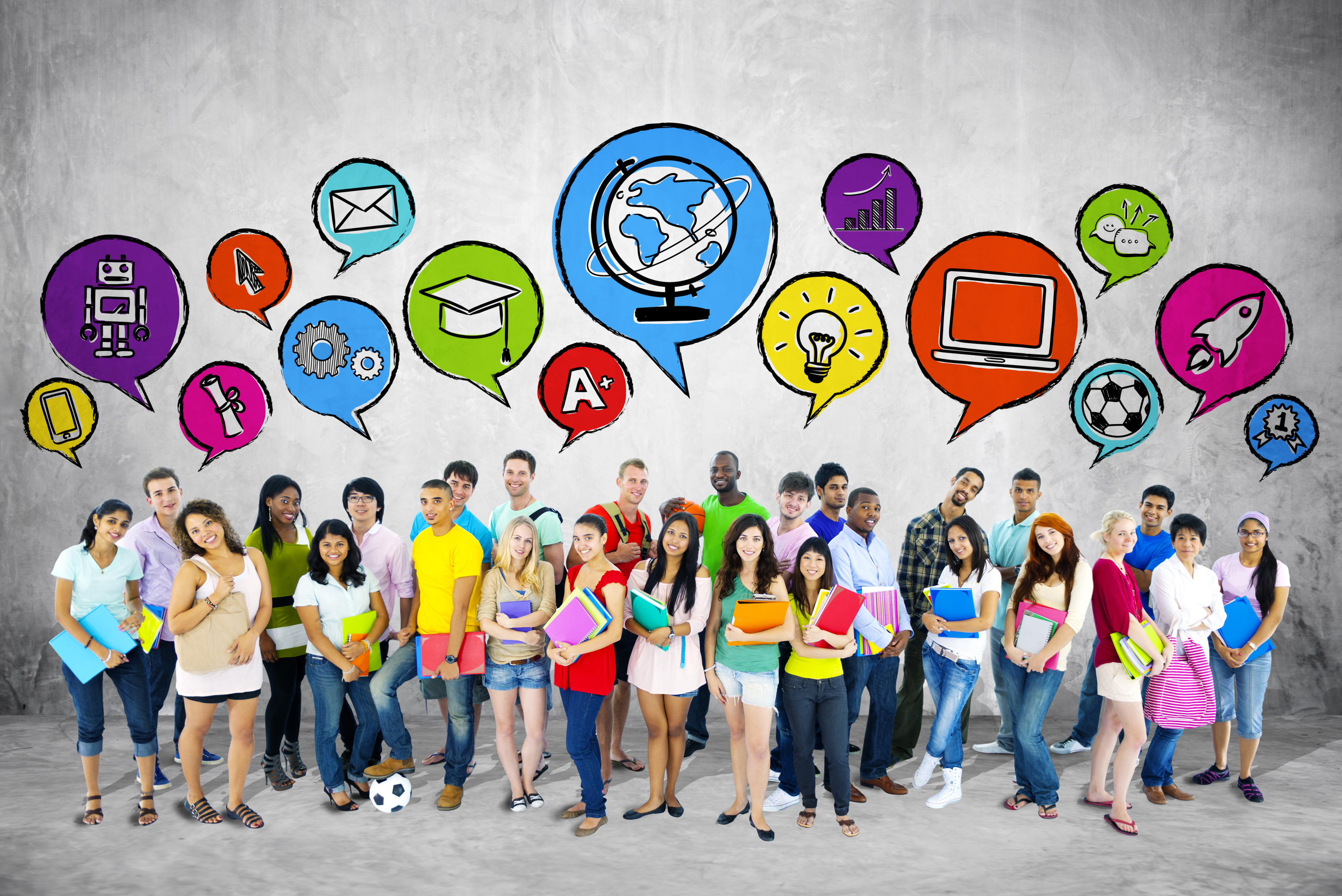 Group of Students with Speech Bubble